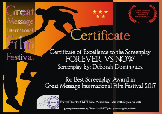 Deborah Dominguez honored by the GMIFF Excellence for Best Screenplay